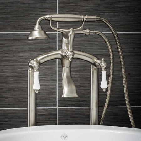 Pelham & White Luxury Clawfoot Tub or Freestanding Tub Filler Faucet, Vintage Design with Telephone Style Hand Shower, Floor Mount Installation, Porcelain Handles, Brushed Nickel (Bamboo Style Faucet)