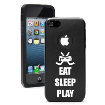 Apple iPhone 6 6s Shockproof AS Aluminum & Silicone Hard Soft Case Cover Eat Sleep Play Hockey (Black),Daylor