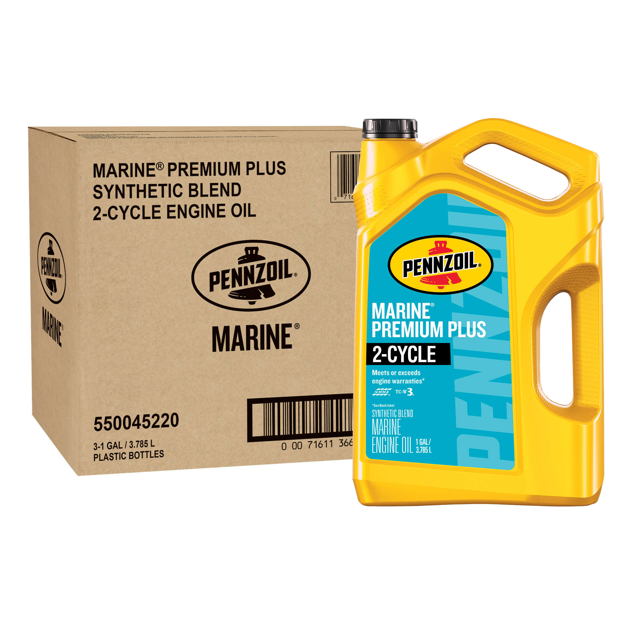 PENNZOIL MARINE PREMIUM PLUS 2-CYCLE SYNTHETIC BLEND OIL, 1 Gal