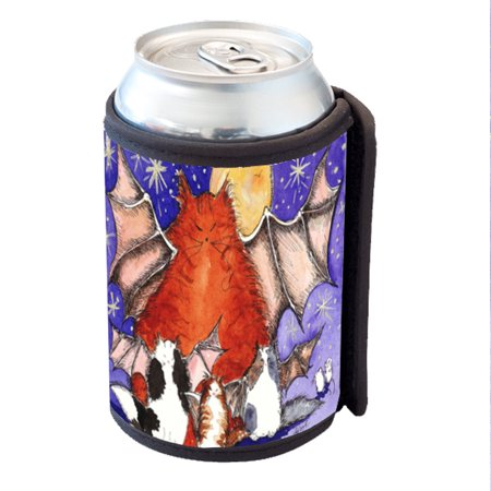 KuzmarK Insulated Drink Can Cooler Hugger - Batty Kitty Family & Full Moon Halloween Cat Art by Denise Every](Halloween Dry Ice Uk)
