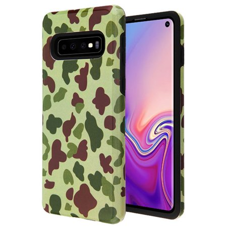Samsung Galaxy S10 Phone Case Premium Slim Protective Shockproof [Drop Protection] Armor Hybrid Rubber Rugged TPU Cover Green Camo Camouflage Phone Case for Samsung Galaxy S10 (6.1