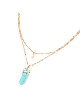 Women Multilayer Irregular Crystal Opals Pendant Necklace Choker Chain
