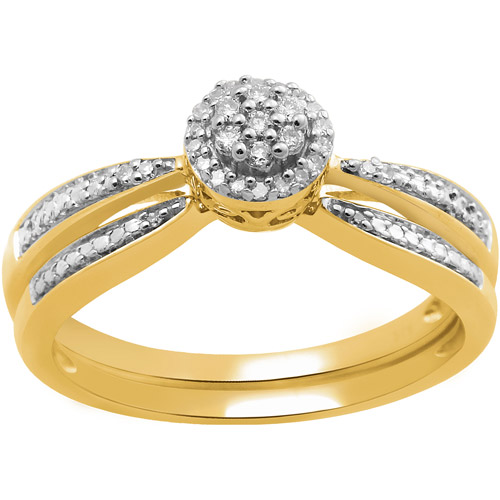 Diamond Accent 18kt Yellow Gold over Sterling Silver Bridal Set