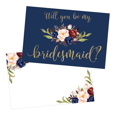 15 Will You Be My Bridesmaid Cards Navy Floral, Cute Bridesmaids Proposal Note Cards For Gifts, Blank Ask To Be Your Bridesmaids Invitations Set, Asking To Be A Bridesmaid Invite](Bridesmaid Gift Sets)