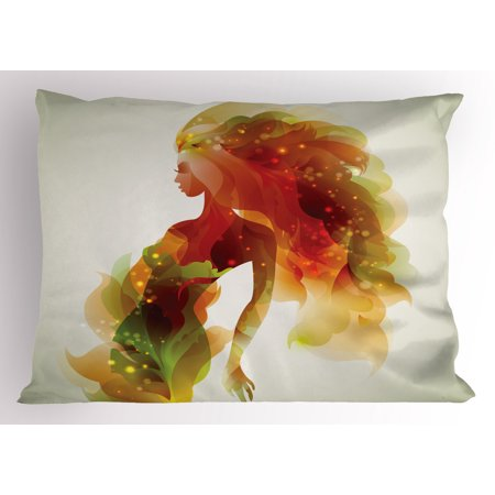 Red Orange Green - Girls Pillow Sham Girl Figure with Flowers and Leafs Floral Abstract Art Spring Theme Artwork, Decorative Standard Size Printed Pillowcase, 26 X 20 Inches, Orange Green Red, by Ambesonne