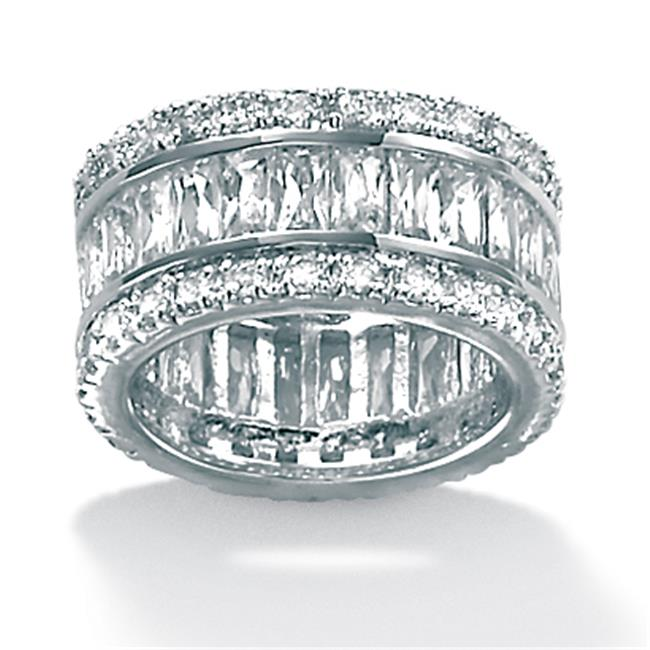 PalmBeach Jewelry 507719 9. 34 TCW Round and Emerald-Cut Cubic Zirconia Platinum-Plated Eternity Band Ring - Size 9