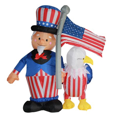 Impact Canopy 4th of July Inflatable, Outdoor Airblown Inflatable Patriotic Uncle Sam American Bald Eagle Decoration, 6 Feet Tall ()