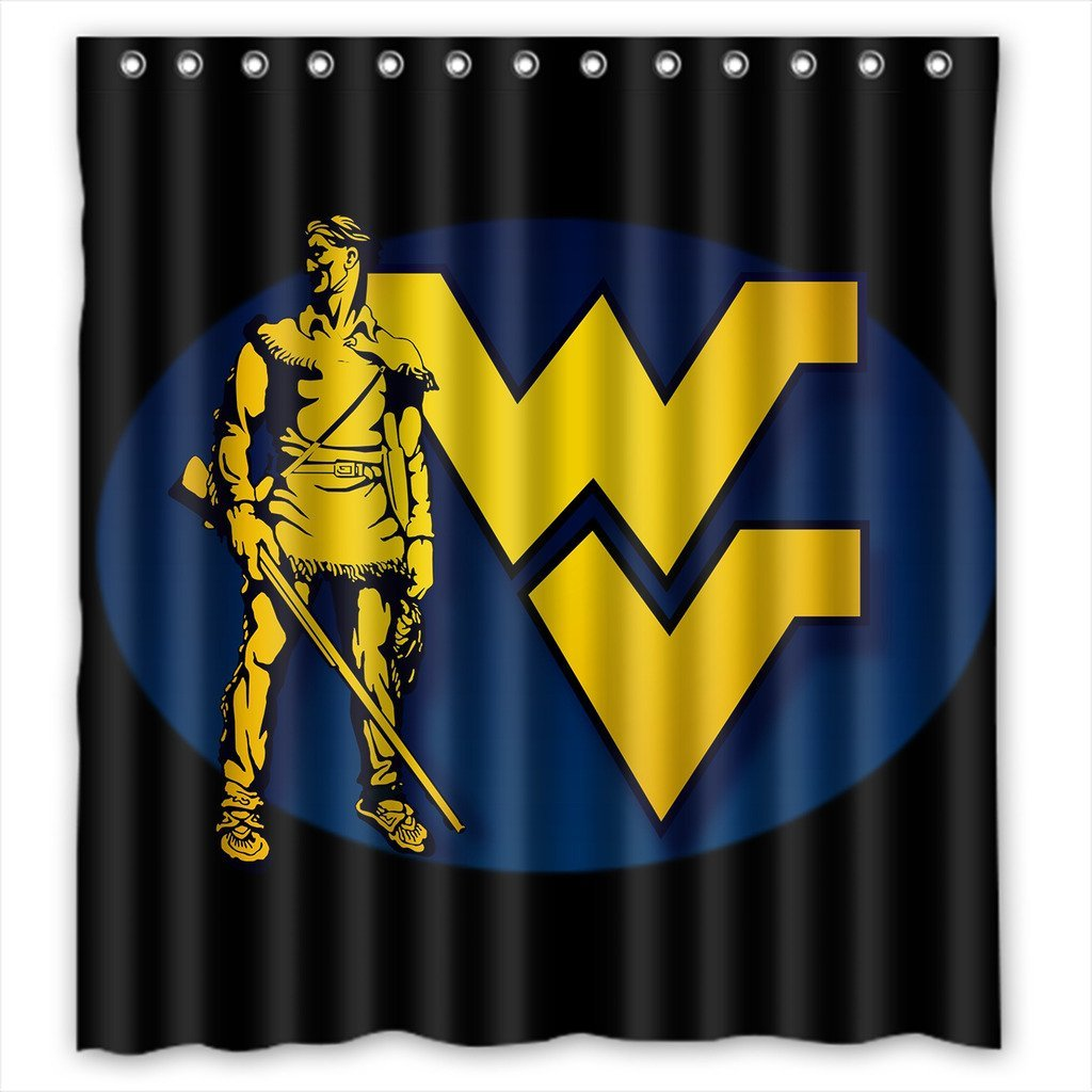 DEYOU West Virginia Mountaineers Shower Curtain Polyester Fabric Bathroom Shower Curtain Size 66x72 inches