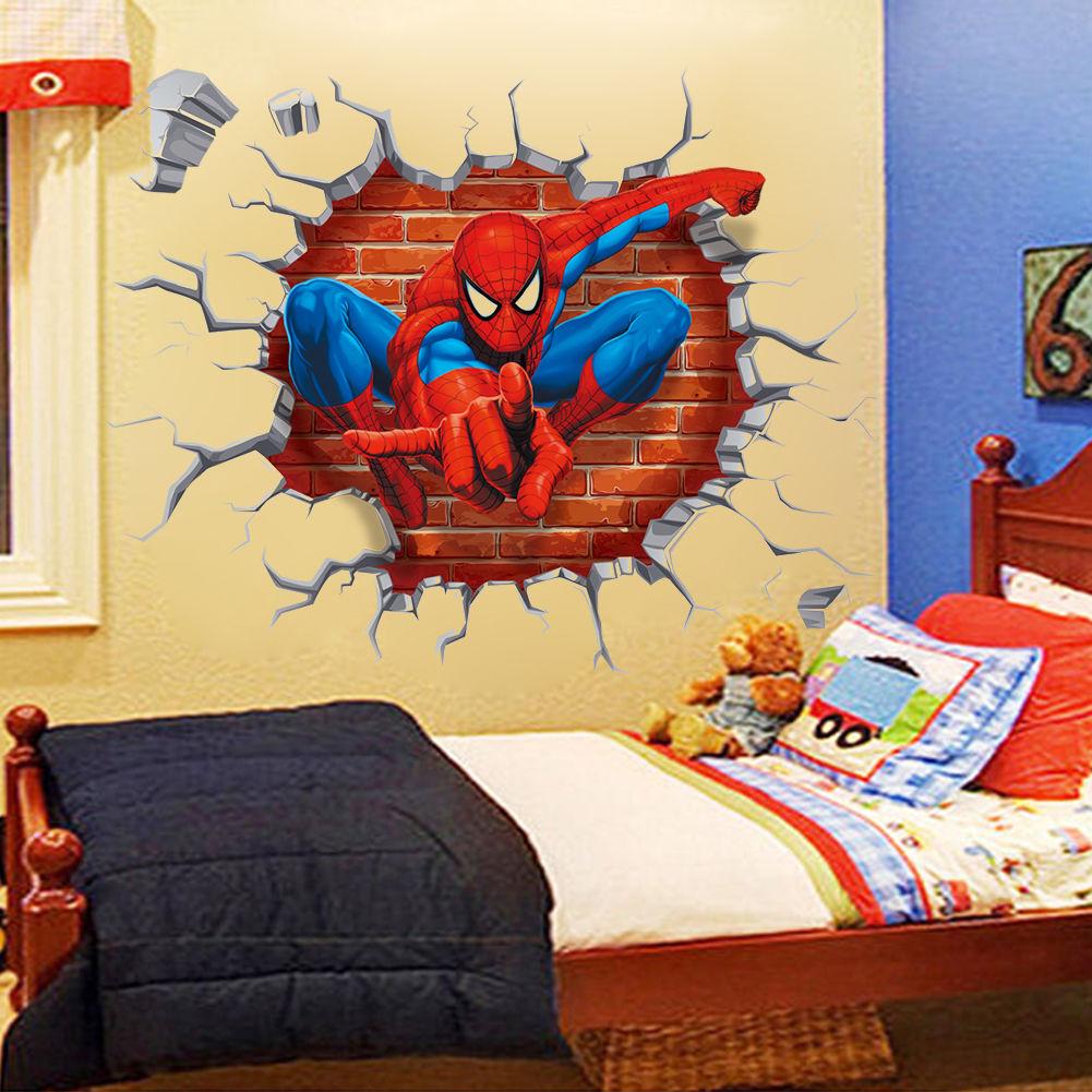 3D Spider Man Wall Art Decals Kids Room Decor Wall Sticker Nursery ...