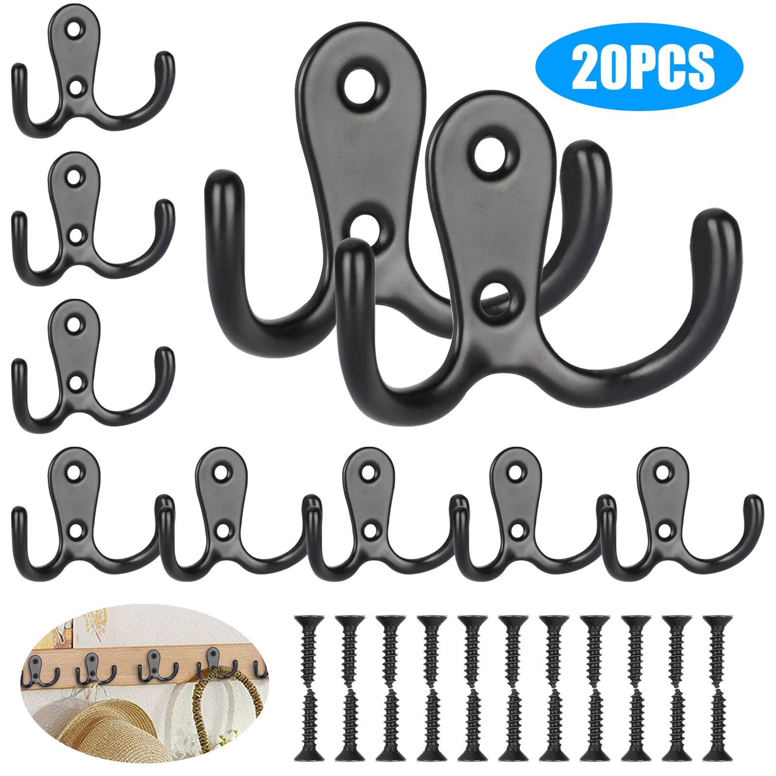 20Pcs Bathroom Door Wall Mounted Single Metal Hooks Coat Hangers W// 40Pcs Screws