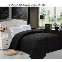 Celine Linen  Goose Down Alternative 1pc SOLID Black Comforter -, Full/Queen, Black