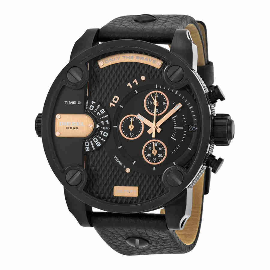 Diesel Little Daddy Dual Time Chronograph Black Dial Mens Watch DZ7291