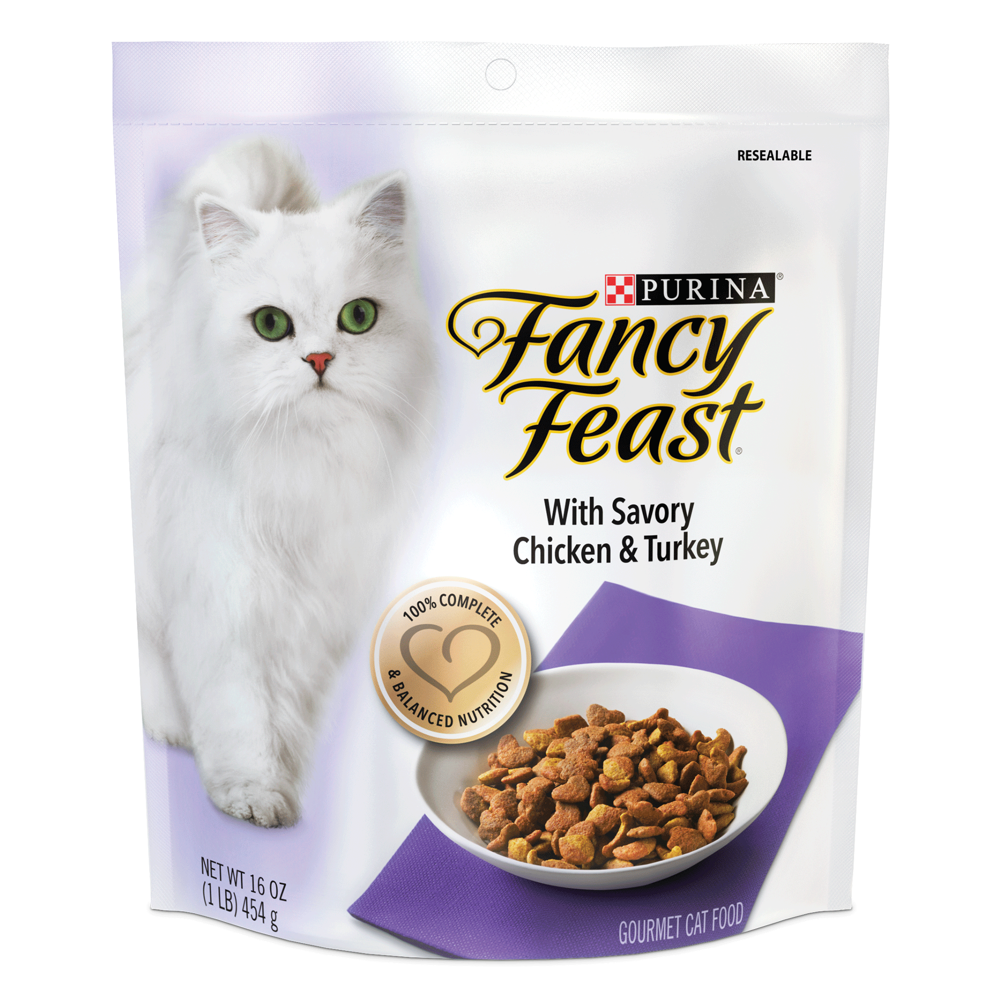 (4 pack) Purina Fancy Feast With Savory Chicken & Turkey Dry Cat Food, 16 oz