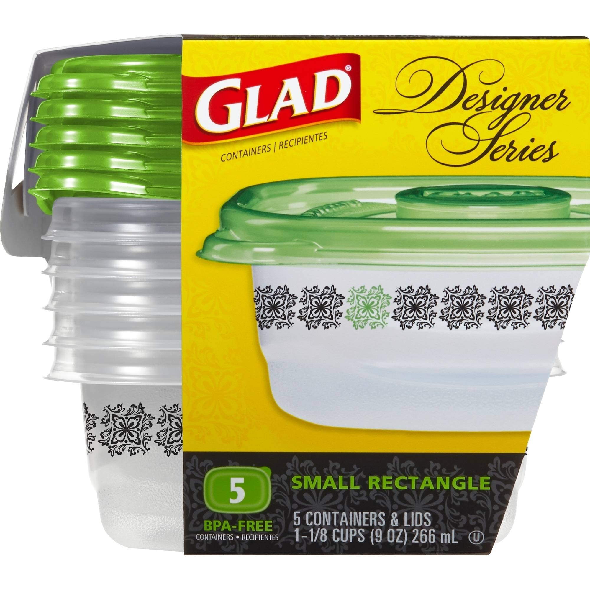 Glad Design Series Small Rectangle Food Storage Containers, 5 count, BPA Free