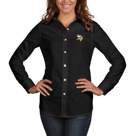 2b0fec91 Minnesota Vikings Antigua Women's Dynasty Woven Button Up Long Sleeve Shirt  - Black - Walmart.com