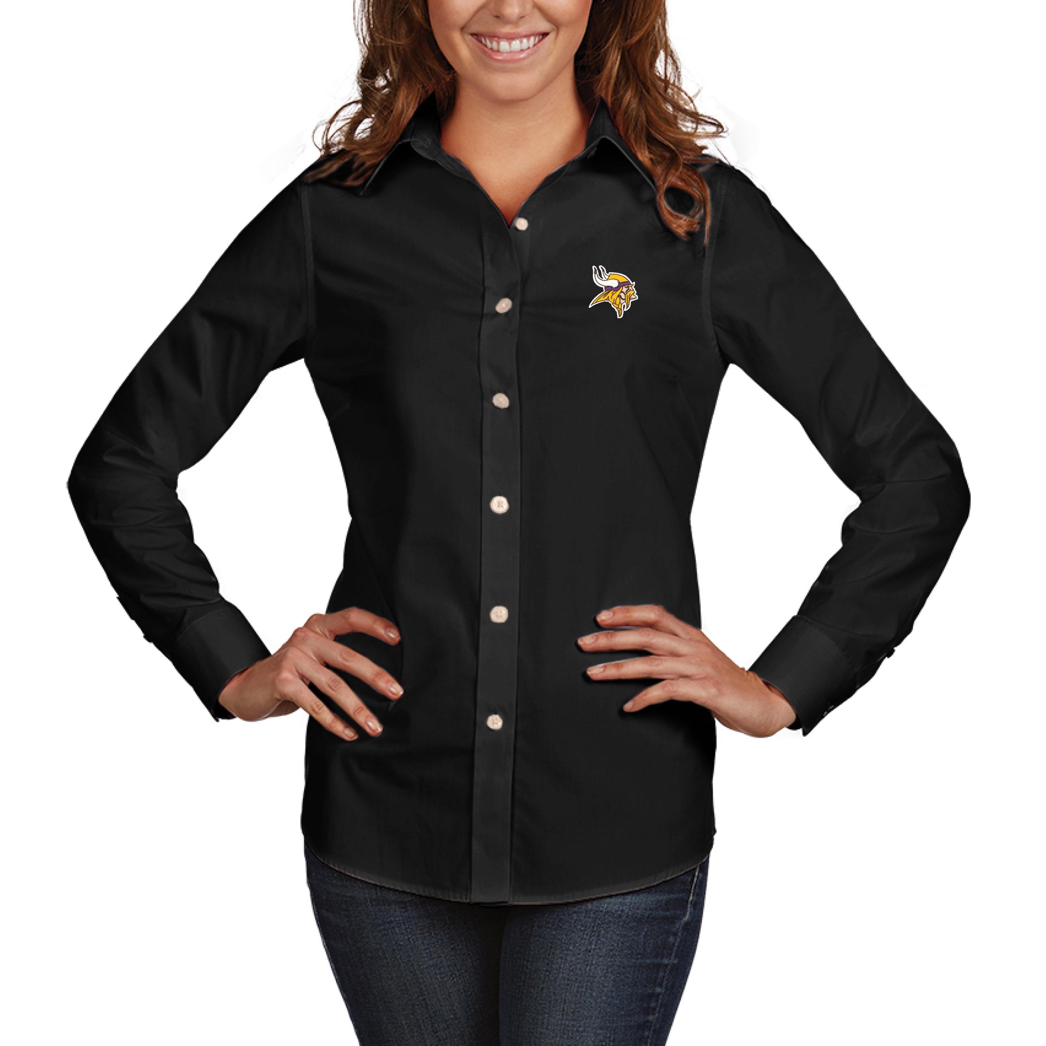 Minnesota Vikings Antigua Women's Dynasty Woven Button Up Long Sleeve Shirt - Black