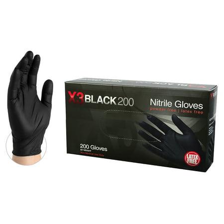 AMMEX BX3D Nitrile Latex-Free Industrial Gloves, Small, Black, 200/Box (Xl Nitrile Gloves Black)