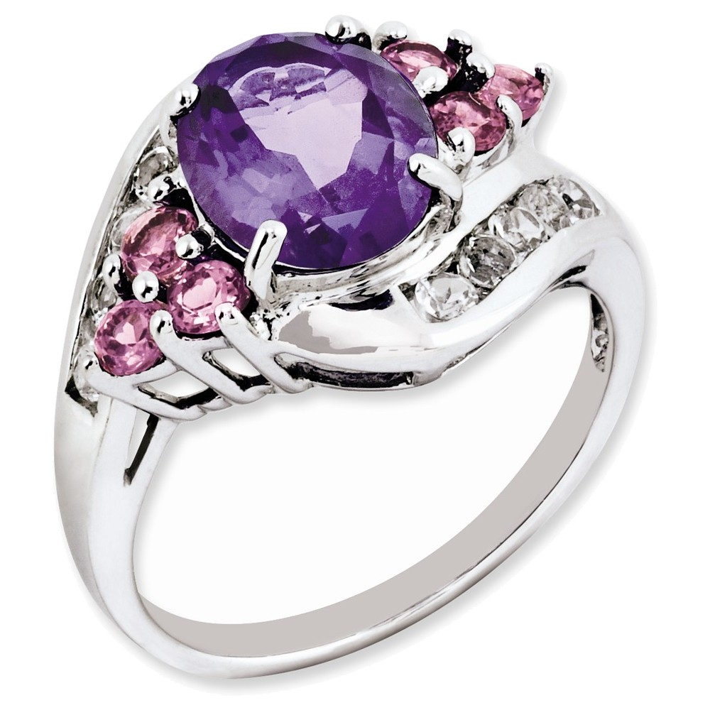 Sterling Silver Amethyst & Pink Tourmaline & White Topaz Ring Size 9 by