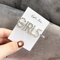 Women Girls Korean Style Silver Color Rhinestone Letter Hair Clip GIRLS