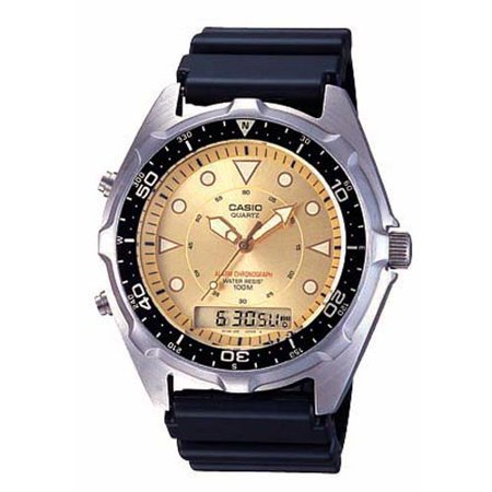Casio Mens Casual Ana-Digi Sports Watch With Gold Dial, Black Resin Strap