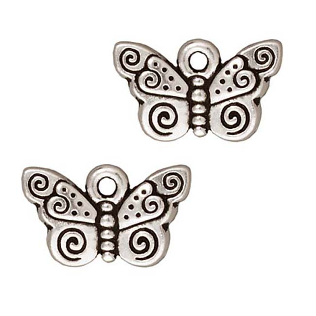 Fine Silver Plated Pewter Spiral Butterfly Charm 15mm (1)