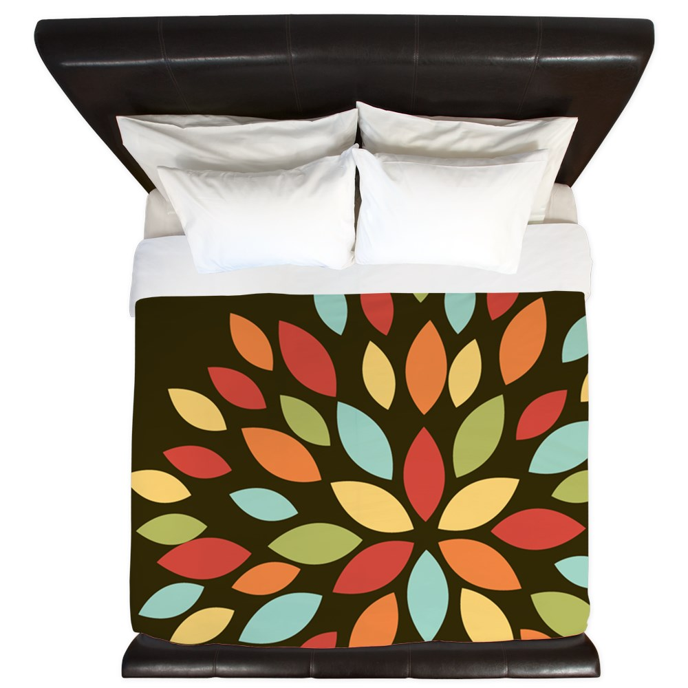 CafePress - Cute Retro Colors Flower On Brown - King Duvet Cover, Printed Comforter Cover, Unique Bedding, Microfiber