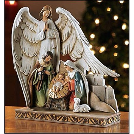 Baptism Angel Figurine - Beautiful Nativity, Joseph, Mary and Baby with Angel 8-inch Figurine Perfect for the Christmas Season (TC616)