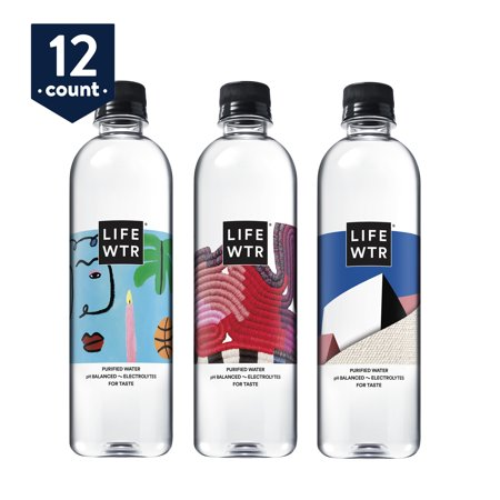 LIFEWTR, Premium Purified Water, pH Balanced with Electrolytes For Taste, 500 ml bottles (Pack of 12) (Packaging May