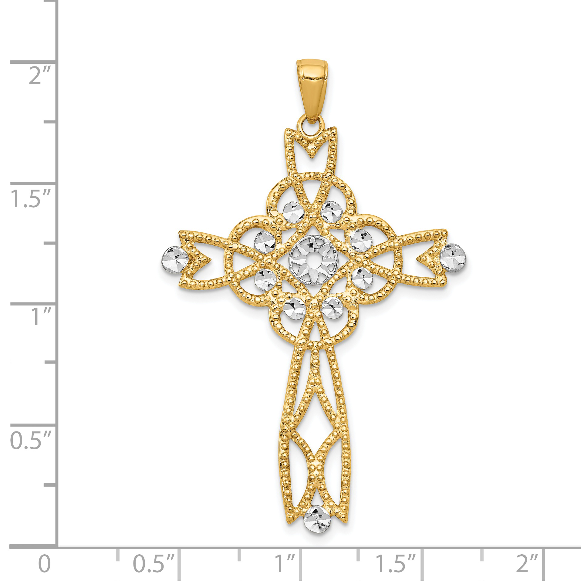 14k Yellow Gold Beaded Trim Infinity Cross Religious Pendant Charm Necklace Fancy Fine Jewelry Gifts For Women For Her - image 1 de 2