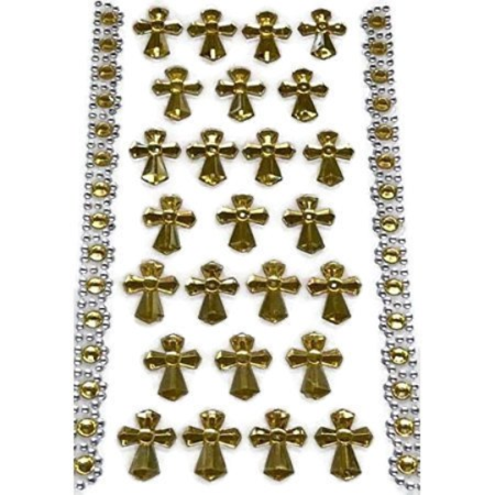 Gold Cross Sticker Charms 3-D Christening Communion Religious Self Adhesive Stickers Party Motives Favor Decorations Gold Self Adhesive