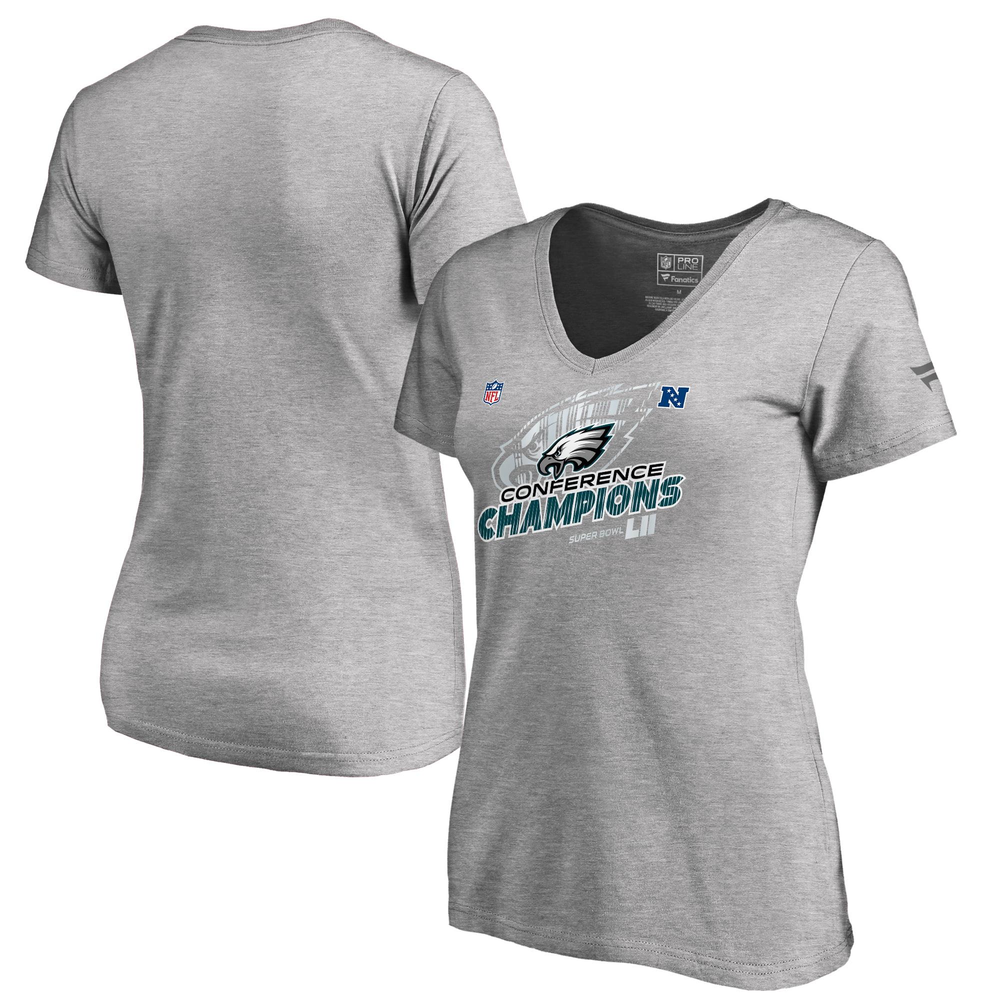 Philadelphia Eagles NFL Pro Line by Fanatics Branded Women's 2017 NFC Champions Trophy Collection Locker Room Plus Size V-Neck T-Shirt - Heather Gray