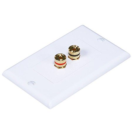 1 Binding Post / 2 Speaker Banana Jack Audio Surround Sound Wall Plate White ()