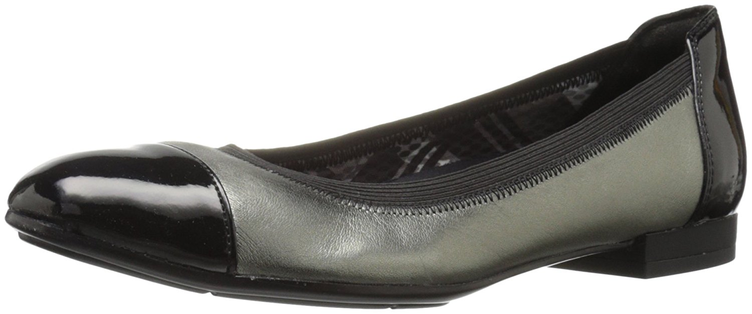 Naturalizer Womens Therese Leather Cap Toe Slide Flats by Naturalizer
