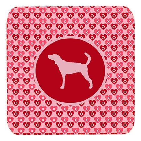 Plott Hound Valentine Hearts Foam Coasters - Set 4, 3.5 x 3.5 (Plott Hound Puppies For Sale In Nc)