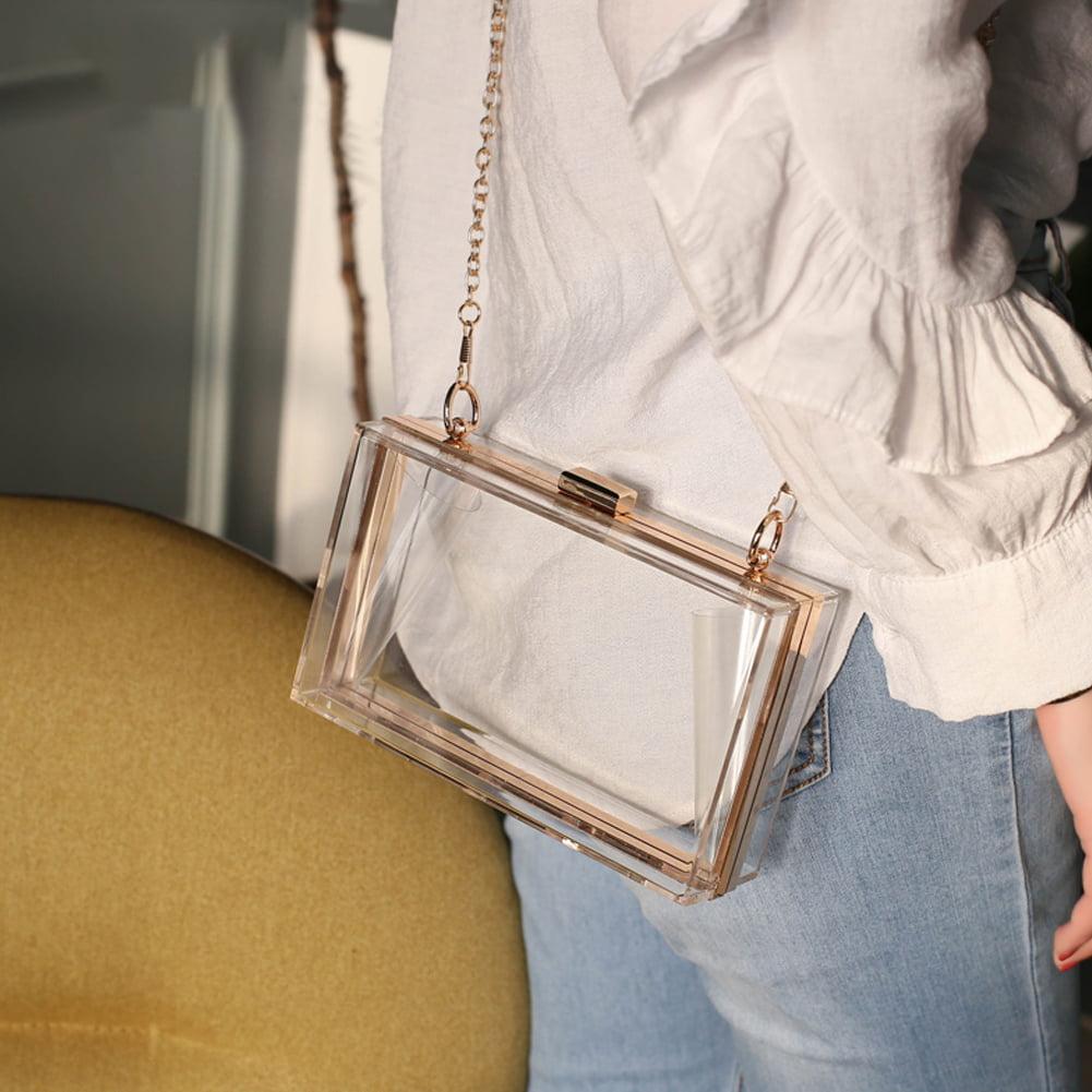 Yosoo Cute Transparent Clear Acrylic Crossbody Box Clutch Evening Bag Shoulder Handbag Gold Chain Purse For Women