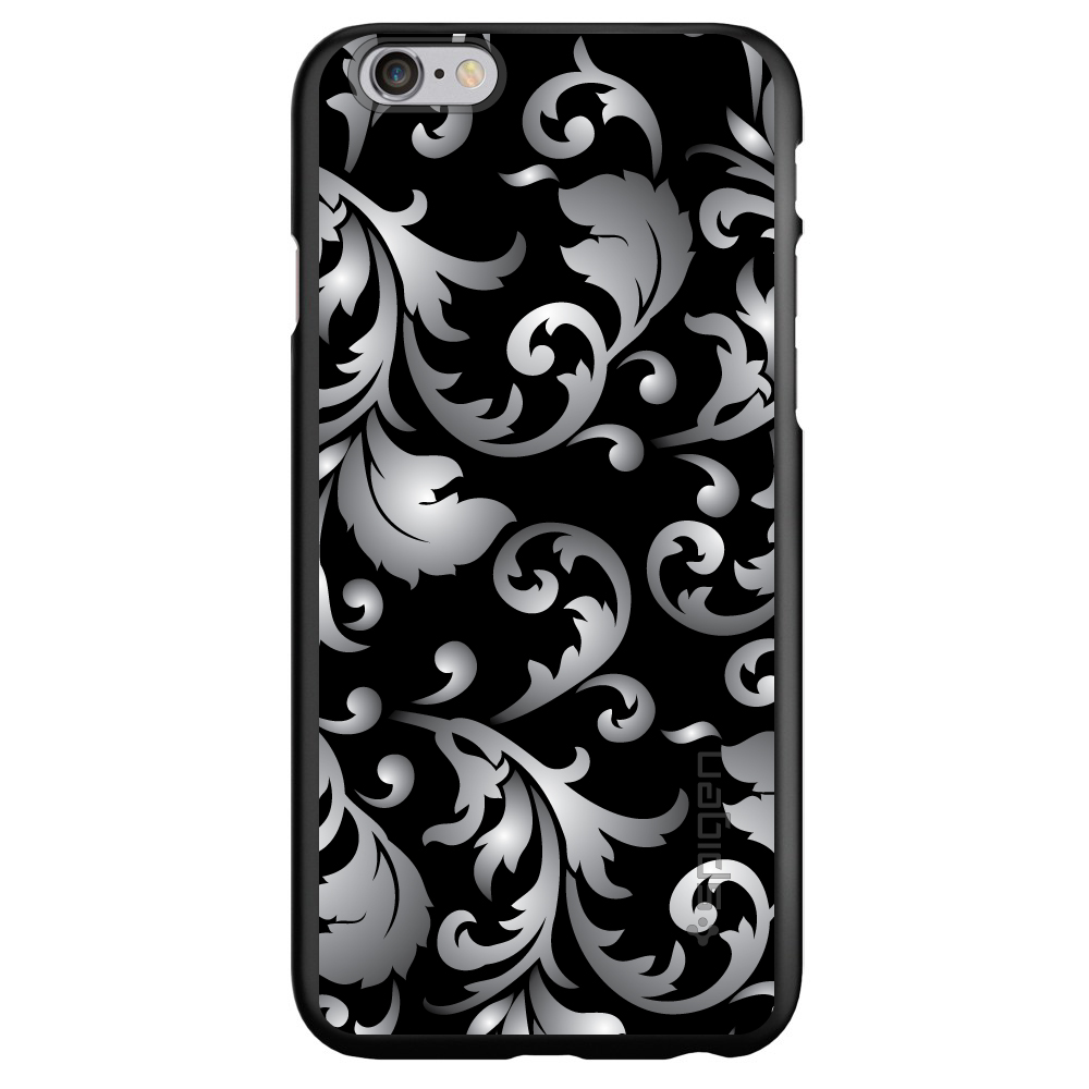 "CUSTOM Black Spigen Thin Fit Case for Apple iPhone 6 PLUS / 6S PLUS (5.5"" Screen) - Silver Black White Floral"