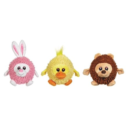 Silly Shaggies Soft Plush Ball Shaped Dog Toys - Choose Bear Duck Bunny Or All 3 (All 3 Toys) (Bunny Or Duck)