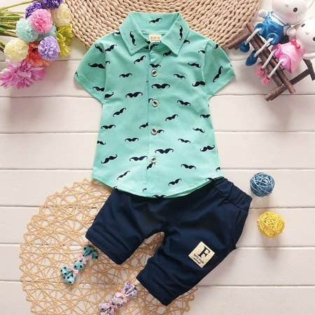 Summer Baby Boy Outfits Set, Cotton Short Sleeve Moustache Pattern T-shirt + Blue Jeans Shorts, 2 Pcs Clothing set - Summer Short Outfits