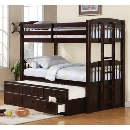 Coaster Logan Twin Bunk Bed with Trundle Bed in Cappuccino