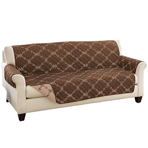Reversible Lattice Furniture Cover Chocolate/Tan Sofa