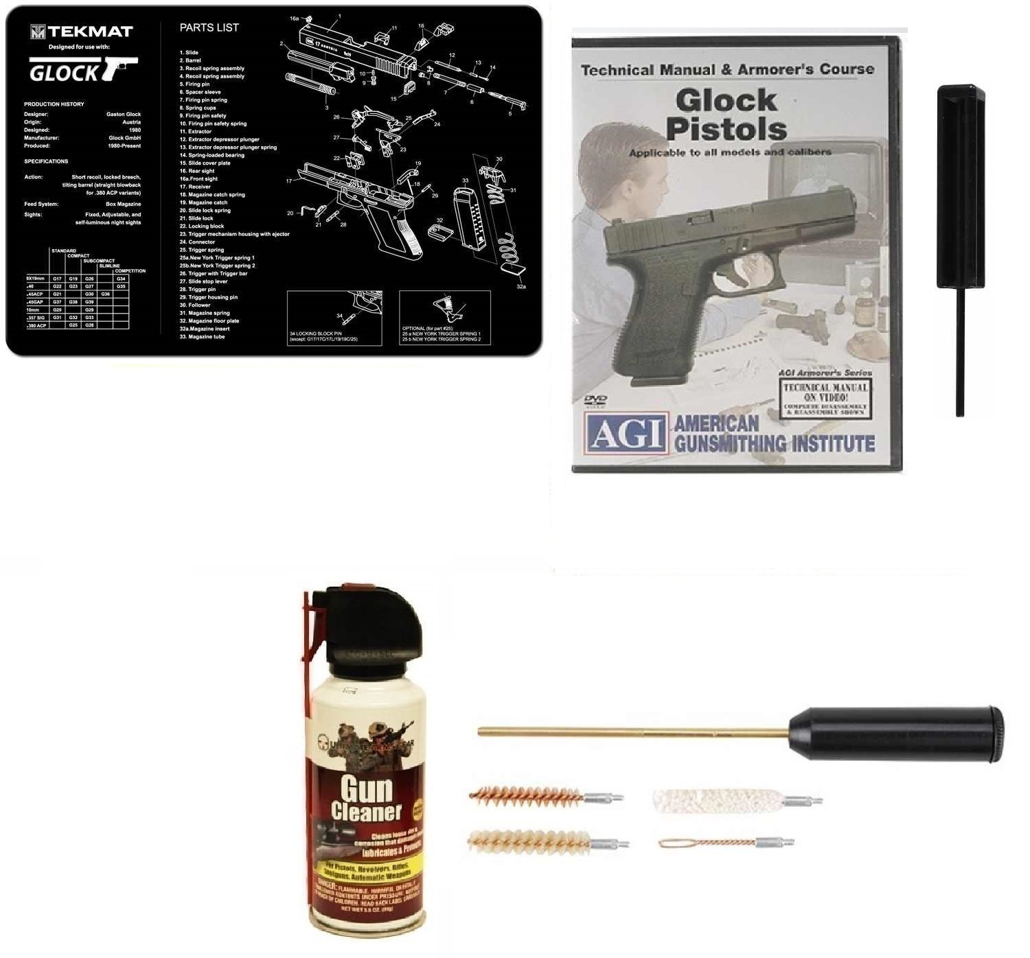Ultimate Arms Gear Gunsmith & Armorer's Cleaning Bench Gun Mat GLOCK + GT03374 3 32 Punch Takedown Tool + Compact Pocket... by
