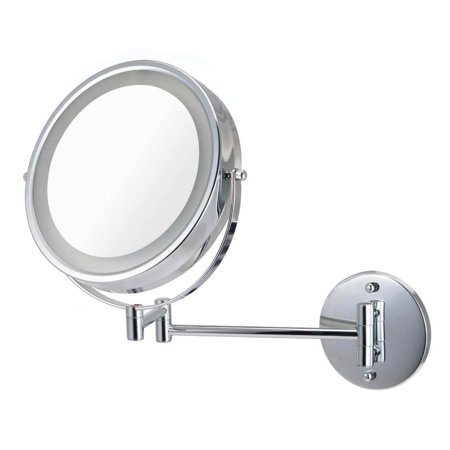 Ovente MFW85CH1x10x 8.5 inch Battery Operated LED Lighted Wallmount Vanity Makeup Mirror, 1x/10x ...