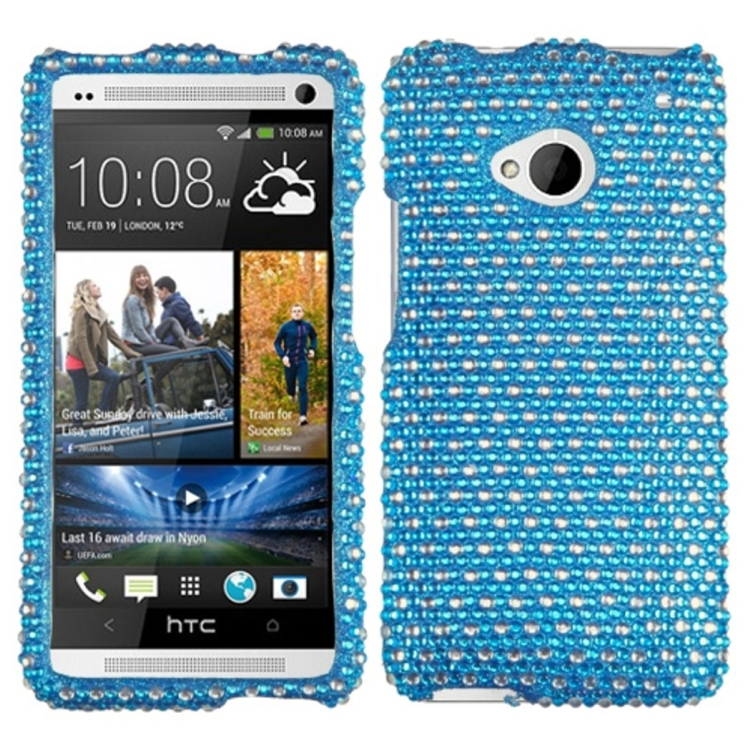 Insten Dots(Blue/white) Diamante Phone Case for HTC: One/M7