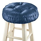 (Foam-Padded Thick Waterproof Barstool Seat Cover Cushion with Slip Resistant Backing, Navy)