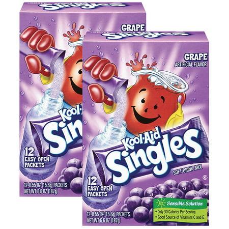 (12 Pack) Kool-Aid Singles Sugar-Sweetened Grape Powdered Soft Drink, 12 - 0.55 oz Packets - Cool Aid Man