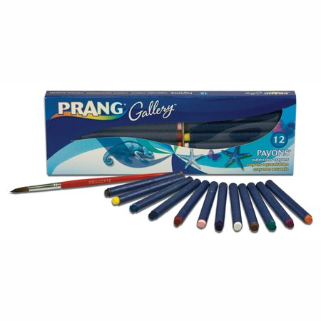 Aquarelle Water Soluble Wax Pastels - Prang® Payons™ Non-Toxic Water Soluble Watercolor Crayon Set with Brush, Assorted Color, Set of 12