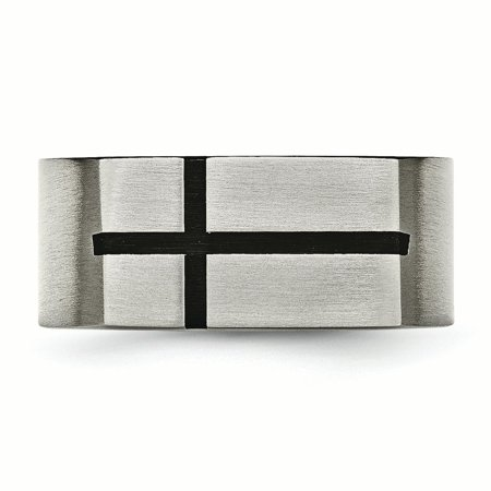 Titanium 10mm Black Enamel Cross Religious Brushed Wedding Ring Band Size 10.00 Designed Fashion Jewelry For Women Valentines Day Gifts For Her - image 8 de 11