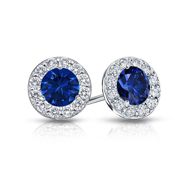 Fine Jewelry Vault UBUERBK150AGCZS Created Sapphire and CZ Halo Stud Earrings in Sterling Silver 1. 50. ct. tw