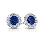 Fine Jewelry Vault UBUERBK150AGCZS Created Sapphire and CZ Halo Stud Earrings in Sterling Silver 1.50.ct.tw