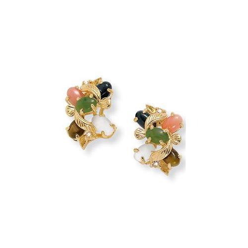 PalmBeach Jewelry 9142_ 1/2 TCW Oval-Shaped Multi-Gemstone Crystal Accent Goldtone Metal Button Earrings